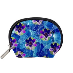 Purple Flowers Accessory Pouches (small)  by DanaeStudio