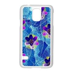 Purple Flowers Samsung Galaxy S5 Case (white) by DanaeStudio