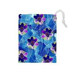 Purple Flowers Drawstring Pouches (medium)  by DanaeStudio