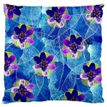 Purple Flowers Large Flano Cushion Case (One Side)