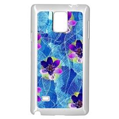 Purple Flowers Samsung Galaxy Note 4 Case (white) by DanaeStudio