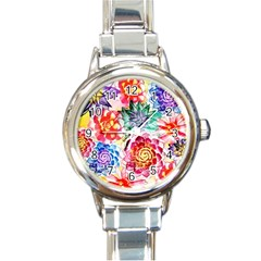 Colorful Succulents Round Italian Charm Watch by DanaeStudio