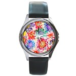 Colorful Succulents Round Metal Watch