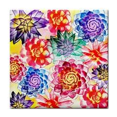 Colorful Succulents Tile Coasters by DanaeStudio