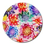 Colorful Succulents Round Mousepads