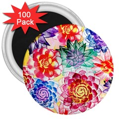 Colorful Succulents 3  Magnets (100 Pack) by DanaeStudio