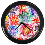 Colorful Succulents Wall Clocks (Black)