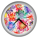 Colorful Succulents Wall Clocks (Silver)