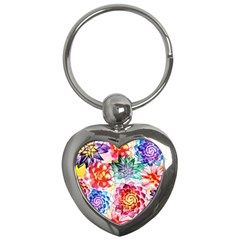 Colorful Succulents Key Chains (heart)  by DanaeStudio