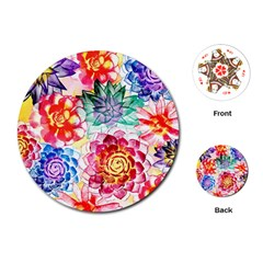Colorful Succulents Playing Cards (round)  by DanaeStudio