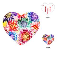 Colorful Succulents Playing Cards (heart)  by DanaeStudio