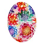 Colorful Succulents Oval Ornament (Two Sides)