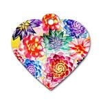 Colorful Succulents Dog Tag Heart (Two Sides)