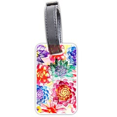 Colorful Succulents Luggage Tags (one Side)  by DanaeStudio