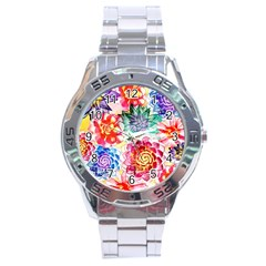 Colorful Succulents Stainless Steel Analogue Watch by DanaeStudio