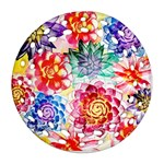 Colorful Succulents Round Filigree Ornament (2Side)
