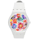 Colorful Succulents Round Plastic Sport Watch (M)