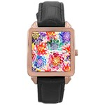 Colorful Succulents Rose Gold Leather Watch