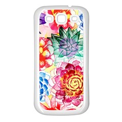 Colorful Succulents Samsung Galaxy S3 Back Case (white) by DanaeStudio