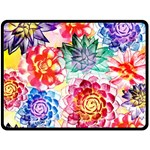 Colorful Succulents Double Sided Fleece Blanket (Large)