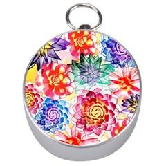 Colorful Succulents Silver Compasses by DanaeStudio