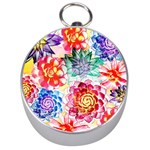 Colorful Succulents Silver Compasses