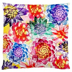 Colorful Succulents Large Flano Cushion Case (two Sides) by DanaeStudio