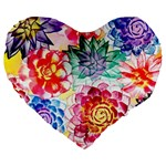 Colorful Succulents Large 19  Premium Flano Heart Shape Cushions
