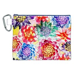 Colorful Succulents Canvas Cosmetic Bag (xxl) by DanaeStudio