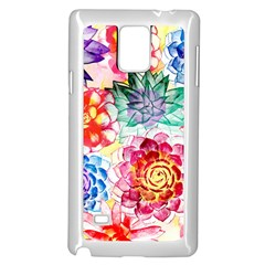 Colorful Succulents Samsung Galaxy Note 4 Case (white) by DanaeStudio