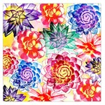 Colorful Succulents Large Satin Scarf (Square)