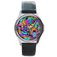 Abstract Sketch Art Squiggly Loops Multicolored Round Metal Watch by EDDArt