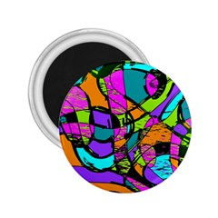 Abstract Sketch Art Squiggly Loops Multicolored 2 25  Magnets by EDDArt