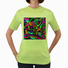 Abstract Sketch Art Squiggly Loops Multicolored Women s Green T Shirt by EDDArt