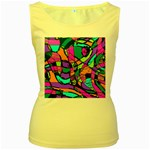 Abstract Sketch Art Squiggly Loops Multicolored Women s Yellow Tank Top