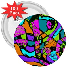 Abstract Sketch Art Squiggly Loops Multicolored 3  Buttons (100 Pack)  by EDDArt