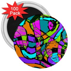Abstract Sketch Art Squiggly Loops Multicolored 3  Magnets (100 Pack) by EDDArt