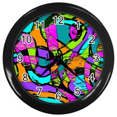 Abstract Sketch Art Squiggly Loops Multicolored Wall Clocks (black) by EDDArt