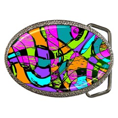 Abstract Sketch Art Squiggly Loops Multicolored Belt Buckles by EDDArt