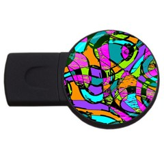 Abstract Sketch Art Squiggly Loops Multicolored Usb Flash Drive Round (2 Gb)  by EDDArt