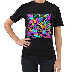 Abstract Sketch Art Squiggly Loops Multicolored Women s T Shirt (black) (two Sided) by EDDArt