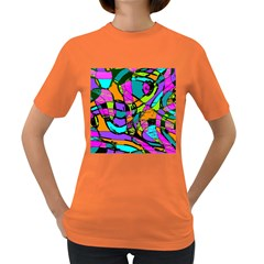 Abstract Sketch Art Squiggly Loops Multicolored Women s Dark T Shirt by EDDArt