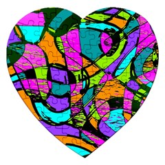 Abstract Sketch Art Squiggly Loops Multicolored Jigsaw Puzzle (heart) by EDDArt