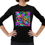 Abstract Sketch Art Squiggly Loops Multicolored Women s Long Sleeve Dark T-Shirts