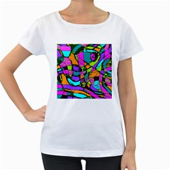 Abstract Sketch Art Squiggly Loops Multicolored Women s Loose Fit T Shirt (white) by EDDArt