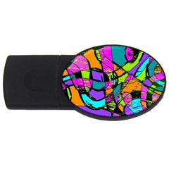 Abstract Sketch Art Squiggly Loops Multicolored Usb Flash Drive Oval (4 Gb)  by EDDArt