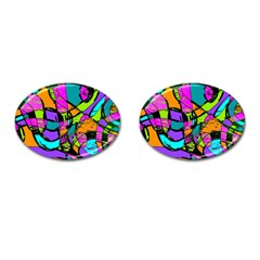 Abstract Sketch Art Squiggly Loops Multicolored Cufflinks (oval) by EDDArt