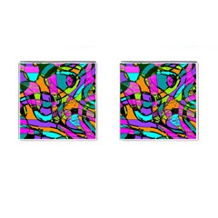 Abstract Sketch Art Squiggly Loops Multicolored Cufflinks (square) by EDDArt
