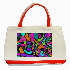 Abstract Sketch Art Squiggly Loops Multicolored Classic Tote Bag (red) by EDDArt