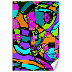 Abstract Sketch Art Squiggly Loops Multicolored Canvas 20  X 30   by EDDArt